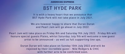 BST Hyde Park reschedules to 2022